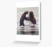 Salmon Turf Wars on Kodiak Greeting Card