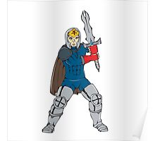 Knight Wielding Sword Front Cartoon Poster