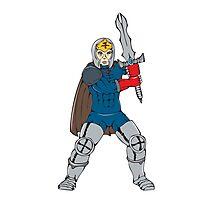 Knight Wielding Sword Front Cartoon Photographic Print