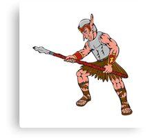 Orc Warrior Thrusting Spear Cartoon Canvas Print