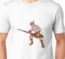 Orc Warrior Thrusting Spear Cartoon Unisex T-Shirt