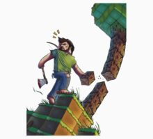 Minecraft Animation Tree Cutter Kids Tee