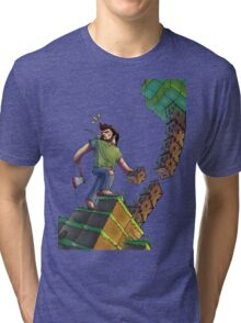 Minecraft Animation Tree Cutter Tri-blend T-Shirt