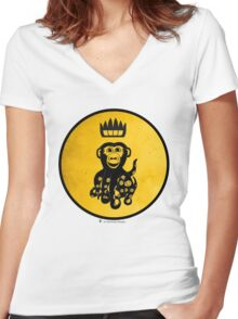 King Octochimp Says Hi Women's Fitted V-Neck T-Shirt