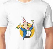 Turkey Celebrating Wine Party Hat Cartoon Unisex T-Shirt