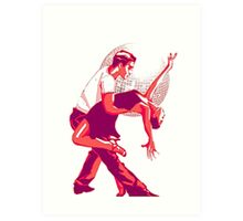 Strictly Salsa Couple Dancing With Glitter Ball Art Print