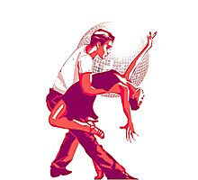Strictly Salsa Couple Dancing With Glitter Ball Photographic Print