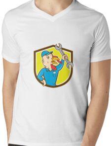 Turkey Mechanic Spanner Shield Cartoon Mens V-Neck T-Shirt