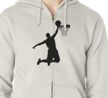 Basketball Player Silhouette 2 Zipped Hoodie