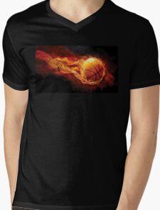 Fiery Basketball Mens V-Neck T-Shirt