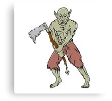 Orc Warrior Wielding Tomahawk Cartoon Canvas Print