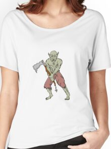 Orc Warrior Wielding Tomahawk Cartoon Women's Relaxed Fit T-Shirt