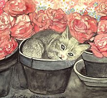 KITTY - CUTE BABY-CAT IN FLOWERPOT WITH PINK ROSES  by RubaiDesign