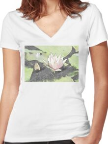 Water Lily Women's Fitted V-Neck T-Shirt