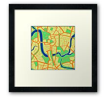 Seamless pattern of city map. Framed Print