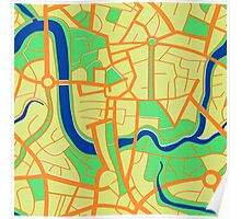 Seamless pattern of city map. Poster