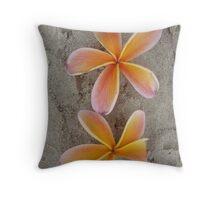 Orange Frangipani Beach Pair-(Portrait) Throw Pillow