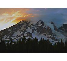 Mount Rainier at Sunset Photographic Print