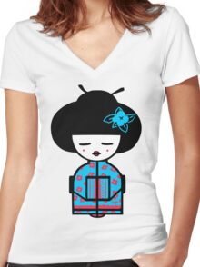 Cyan Chinese Women's Fitted V-Neck T-Shirt