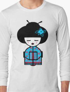 Cyan Chinese Long Sleeve T-Shirt