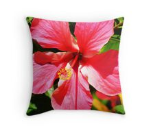 pink hybiscus Throw Pillow