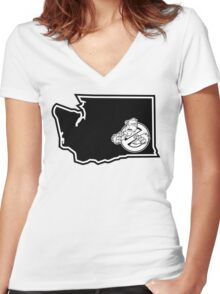 PNW:GB - Washington State (blk) Women's Fitted V-Neck T-Shirt