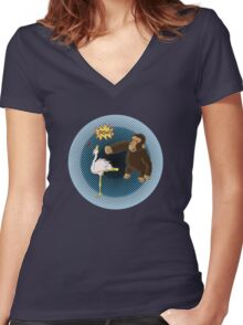 Crane Style Versus Monkey Fist Women's Fitted V-Neck T-Shirt