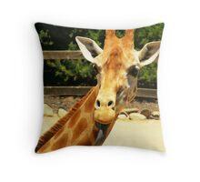 a very rude giraffe Throw Pillow
