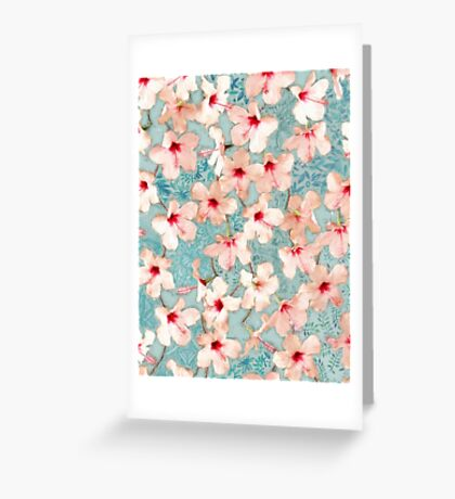 Shabby Chic Hibiscus Patchwork Pattern in Peach & Mint Greeting Card