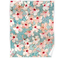 Shabby Chic Hibiscus Patchwork Pattern in Peach & Mint Poster
