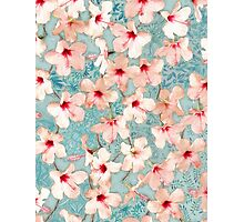 Shabby Chic Hibiscus Patchwork Pattern in Peach & Mint Photographic Print
