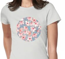 Shabby Chic Hibiscus Patchwork Pattern in Pink & Blue Womens Fitted T-Shirt