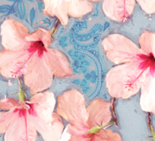 Shabby Chic Hibiscus Patchwork Pattern in Pink & Blue Sticker