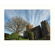 Family entering St Mary Church inside Dover Castle in England Art Print