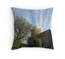 Family entering St Mary Church inside Dover Castle in England Throw Pillow