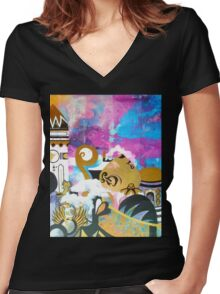 Abstract Eastern Sunset City Landscape Painting Gold Purple Black Women's Fitted V-Neck T-Shirt
