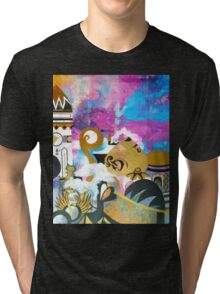 Abstract Eastern Sunset City Landscape Painting Gold Purple Black Tri-blend T-Shirt