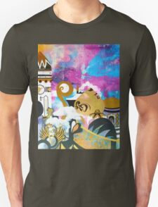 Abstract Eastern Sunset City Landscape Painting Gold Purple Black T-Shirt