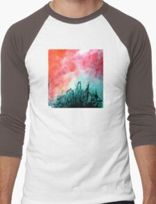 The City Rose Up urban industrial ink painting red black white Men's Baseball ¾ T-Shirt