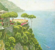 Hotel on a Cliff (Oil pastel painting) by NGuan