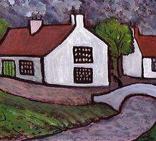 Ovington village Northumberland U.K in cira 1910 by sword