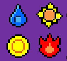 Kanto League Pokemon Master Badges  by Shane Russell
