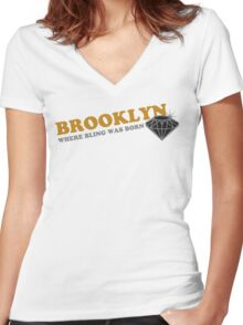 BROOKLYN BLING Women's Fitted V-Neck T-Shirt