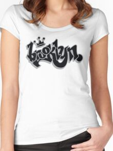 BROOKLYN GRAFF STYLE*BLACK/SILVER Women's Fitted Scoop T-Shirt