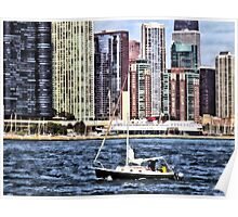 Chicago IL - Sailing on Lake Michigan Poster