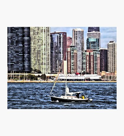 Chicago IL - Sailing on Lake Michigan Photographic Print