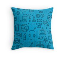Chaos Pattern - Blue Throw Pillow