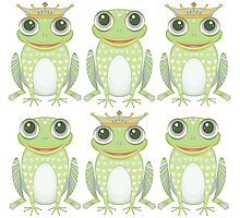 3 Crowned Frogs and 3 Crownless Frogs Photographic Print