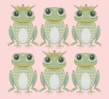 3 Crowned Frogs and 3 Crownless Frogs Kids Clothes