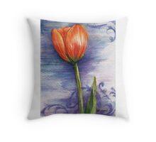 Tulip Scroll Throw Pillow